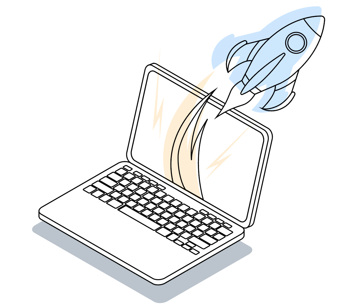 Decorative image of rocket launching from laptop. Rocket is blue with yellow flames. Laptop is black and white.