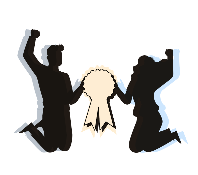 Decorative image. Two black figures in shadow outline are jumping in the air and holding a winner's ribbon between them.